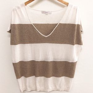 LOFT Metallic Gold Striped Linen Blend Sweater XL